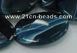 CAG224 15.5 inches 25*35mm faceted oval blue agate gemstone beads