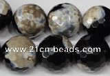 CAG2247 15.5 inches 18mm faceted round fire crackle agate beads