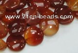 CAG225 15.5 inches 12mm flat round red agate gemstone beads