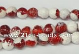 CAG2251 15.5 inches 6mm faceted round fire crackle agate beads