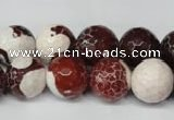CAG2255 15.5 inches 14mm faceted round fire crackle agate beads