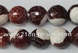 CAG2257 15.5 inches 18mm faceted round fire crackle agate beads