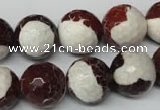 CAG2258 15.5 inches 20mm faceted round fire crackle agate beads