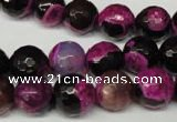 CAG2264 15.5 inches 12mm faceted round fire crackle agate beads