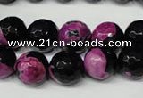 CAG2265 15.5 inches 14mm faceted round fire crackle agate beads