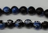 CAG2273 15.5 inches 10mm faceted round fire crackle agate beads