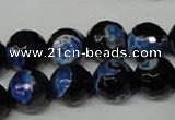 CAG2278 15.5 inches 20mm faceted round fire crackle agate beads