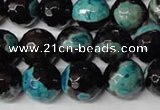 CAG2286 15.5 inches 16mm faceted round fire crackle agate beads