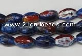 CAG2290 15.5 inches 8*12mm faceted rice fire crackle agate beads