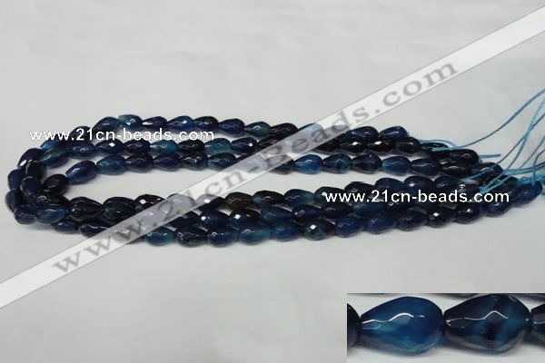 CAG2301 15.5 inches 8*12mm faceted teardrop agate gemstone beads