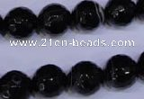 CAG2316 15.5 inches 12mm faceted round black line agate beads