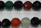 CAG2354 15.5 inches 12mm faceted round multi colored agate beads