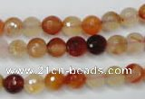 CAG2382 15.5 inches 8mm faceted round red agate beads wholesale