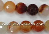 CAG2385 15.5 inches 14mm faceted round red agate beads wholesale