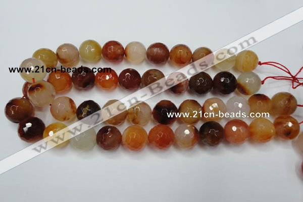 CAG2386 15.5 inches 16mm faceted round red agate beads wholesale