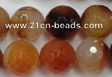 CAG2387 15.5 inches 18mm faceted round red agate beads wholesale