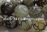 CAG239 15.5 inches round 18mm dragon veins agate gemstone beads