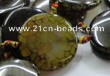 CAG256 15.5 inches 35mm coin dragon veins agate gemstone beads