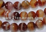CAG2703 15.5 inches 10mm faceted round red line agate beads