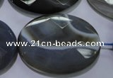 CAG2738 15.5 inches 30*40mm faceted oval grey line agate beads