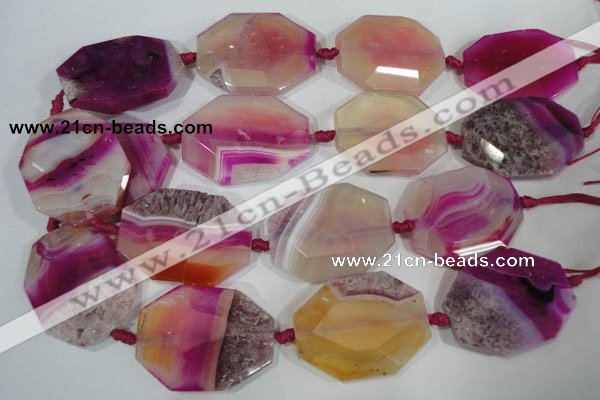 CAG2880 15.5 inches 30*40mm faceted octagonal agate gemstone beads