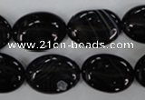 CAG2918 15.5 inches 13*18mm oval black line agate beads
