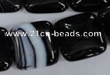 CAG2948 15.5 inches 22*22mm square black line agate beads