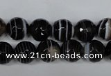 CAG2983 15.5 inches 10mm faceted round black line agate beads