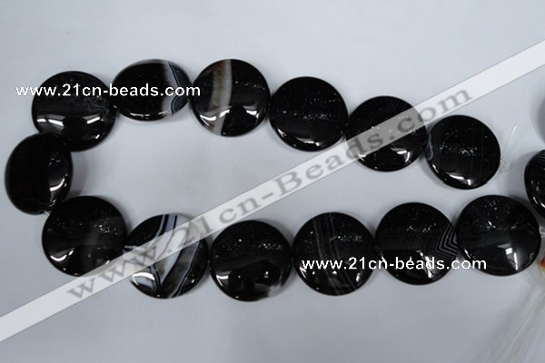 CAG2999 15.5 inches 30mm flat round black line agate beads