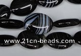 CAG3003 15.5 inches 13*18mm oval black line agate beads