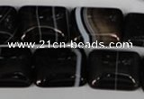 CAG3024 15.5 inches 15*20mm rectangle black line agate beads