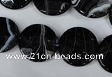 CAG3075 15.5 inches 18mm faceted coin black line agate beads