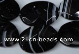 CAG3084 15.5 inches 18*25mm faceted oval black line agate beads