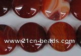 CAG3186 15.5 inches 20mm flat round red line agate beads
