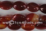 CAG3192 15.5 inches 10*14mm oval red line agate beads