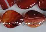 CAG3216 15.5 inches 20*25mm flat teardrop red line agate beads