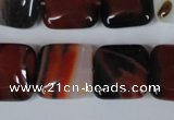 CAG3248 15.5 inches 16*16mm square red line agate beads