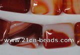 CAG3255 15.5 inches 15*20mm rectangle red line agate beads