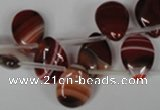 CAG3285 Top-drilled 12*16mm flat teardrop red line agate beads
