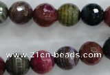 CAG3304 15.5 inches 12mm faceted round colorfull line agate beads