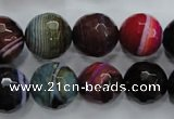 CAG3305 15.5 inches 14mm faceted round colorfull line agate beads