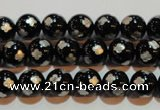 CAG3352 15.5 inches 8mm carved round black agate beads wholesale