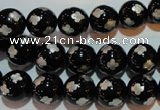 CAG3353 15.5 inches 10mm carved round black agate beads wholesale
