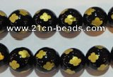 CAG3364 15.5 inches 12mm carved round black agate beads wholesale