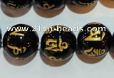 CAG3376 15.5 inches 16mm carved round black agate beads wholesale