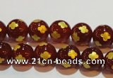 CAG3394 15.5 inches 8mm carved round red agate beads wholesale