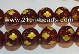 CAG3395 15.5 inches 10mm carved round red agate beads wholesale