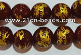 CAG3412 15.5 inches 16mm carved round red agate beads wholesale
