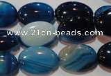 CAG3480 15.5 inches 13*18mm oval blue line agate beads