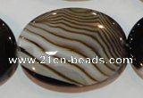 CAG3500 15.5 inches 30*40mm oval brown line agate beads